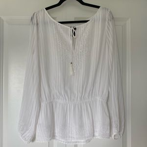 White House Black Market White embroidered Blouse